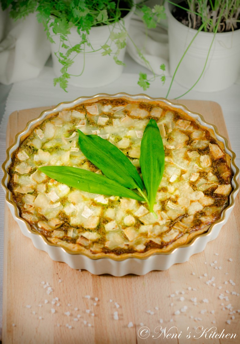 Wild garlic & goat cheese tart 3