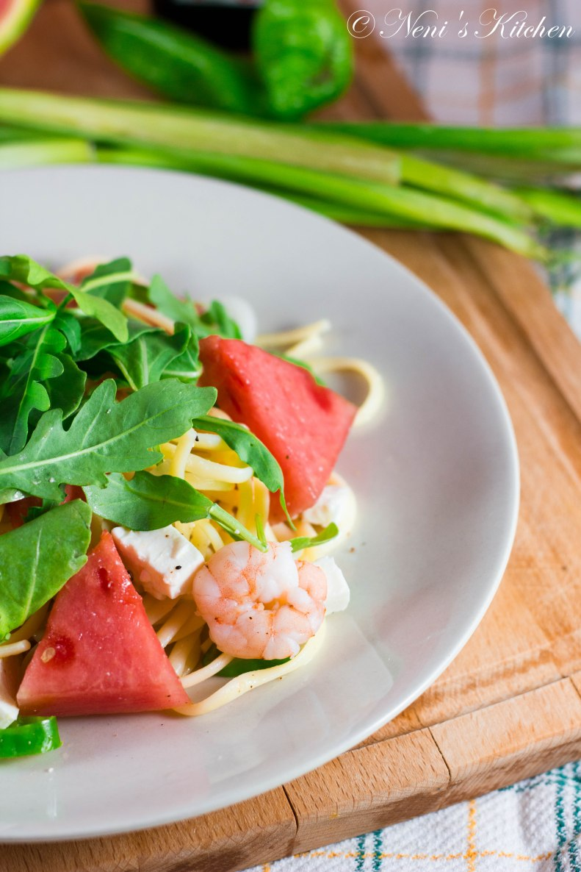 pasta salad with shrimps feta watermelon 1