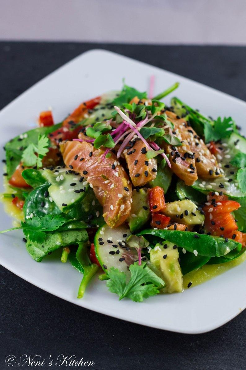 Sake sashimi salad avocado mango dressing