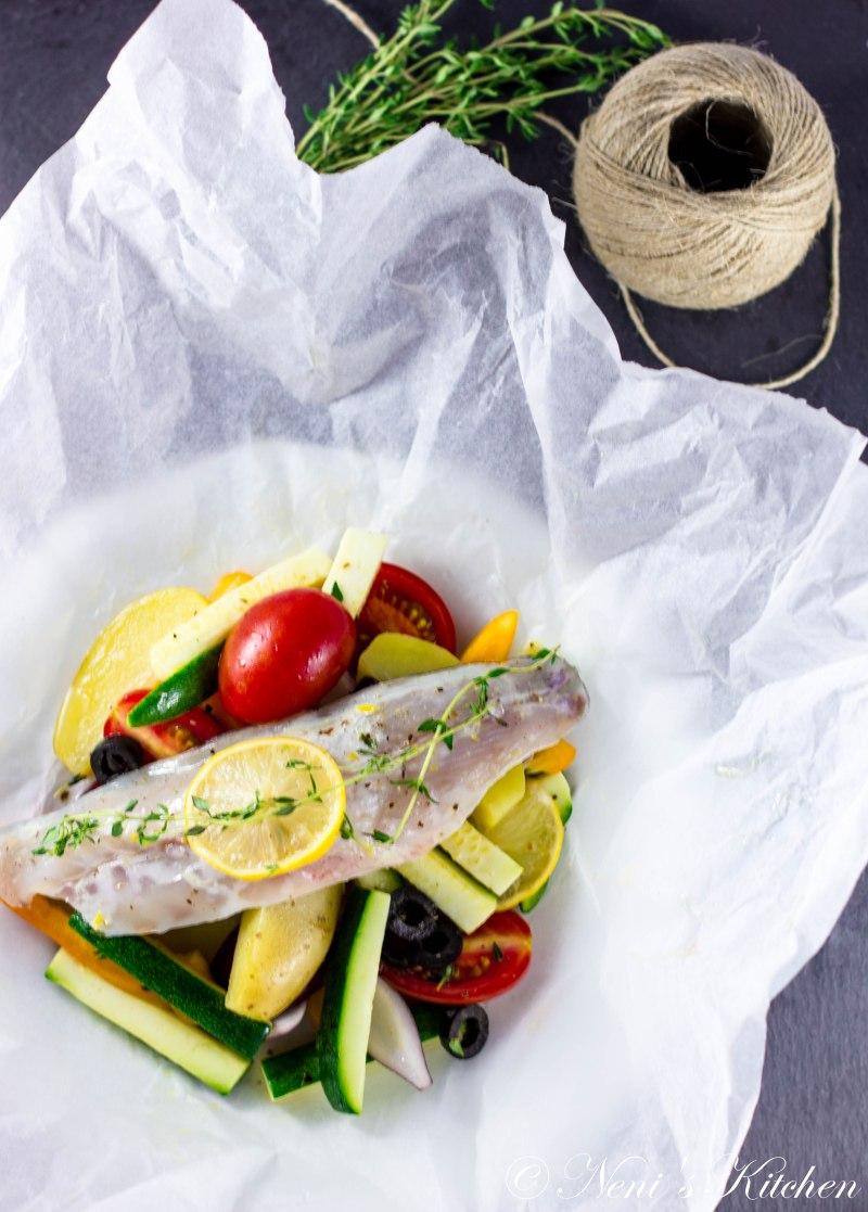 fish in a bag mediterranean veggies white wine